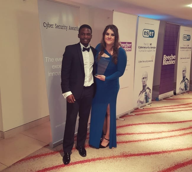 Chelsea Cadd and Nqobile Dube at the Cyber Security Awards