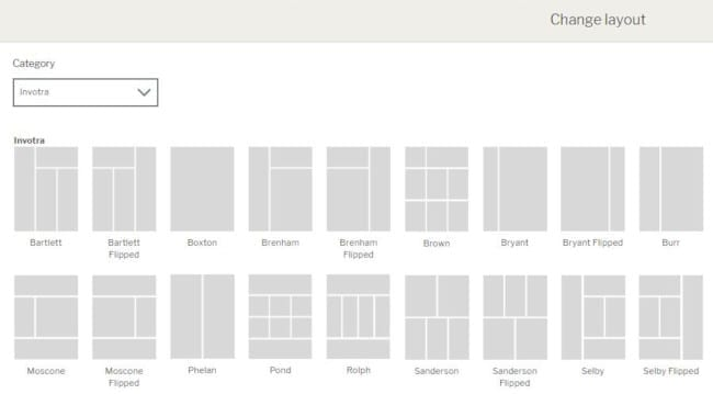 Page layouts screen
