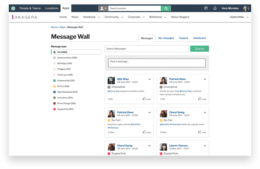 Invotra message wall screen