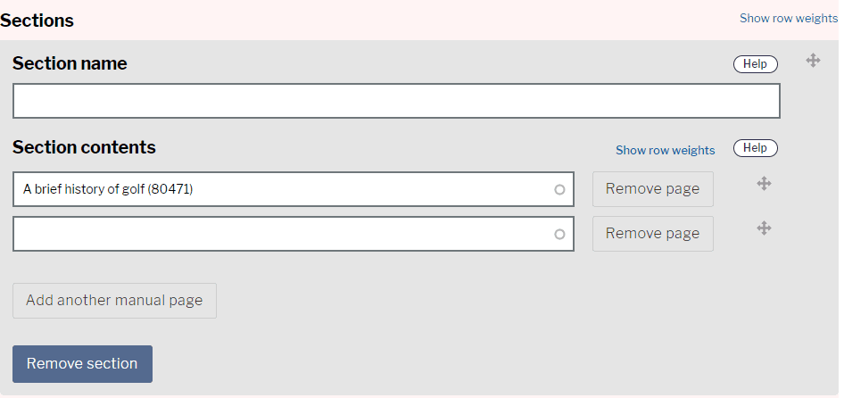 Remove manual sections options