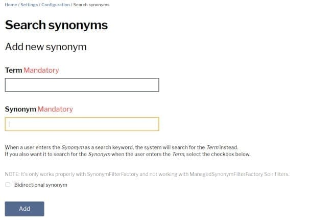 Search synonyms