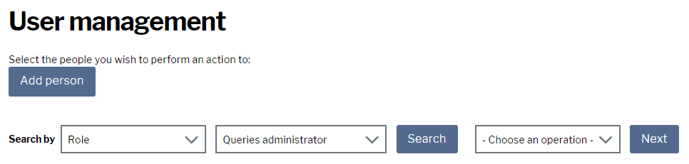 New query administrator role page