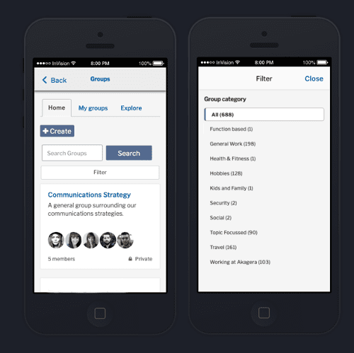 Updates to search and filter layouts on mobile devices