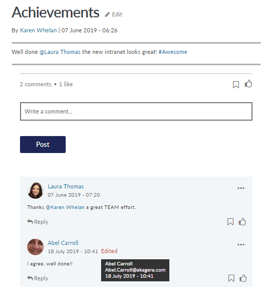 Details of user edit to comments, including user name and date