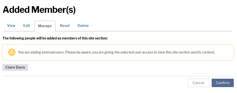 Warning displayed on Add member page of a site section which reads You are adding external users. Please be aware, you are giving the selected user access to view this site section and its content.
