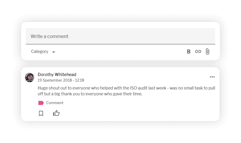 Comment thread showing write a comment field and an existing comment