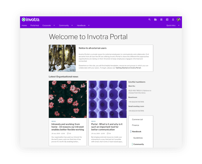 Invotra 5.0 - Portal homepage with title, and 3 widgets with images and headers shown