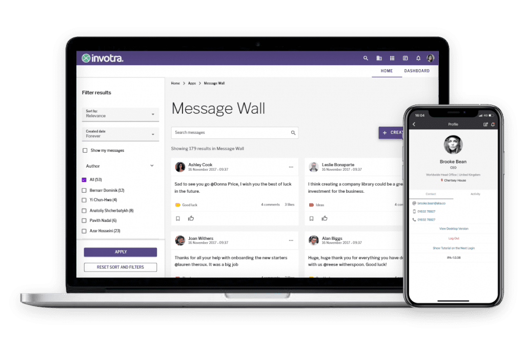 Invotra 5.0 - Laptop and Mobile with message wall and a profile page displayed