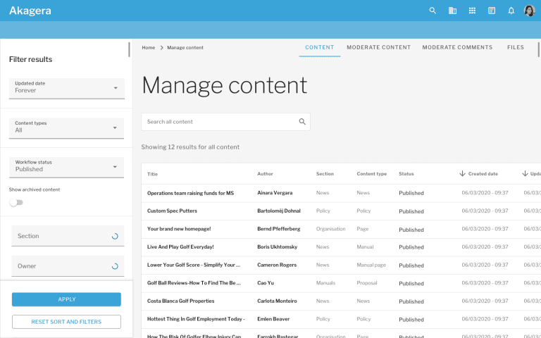 Material Design Manage Content page with search filters and a list of all content titles, created and updated dates, authors and sections