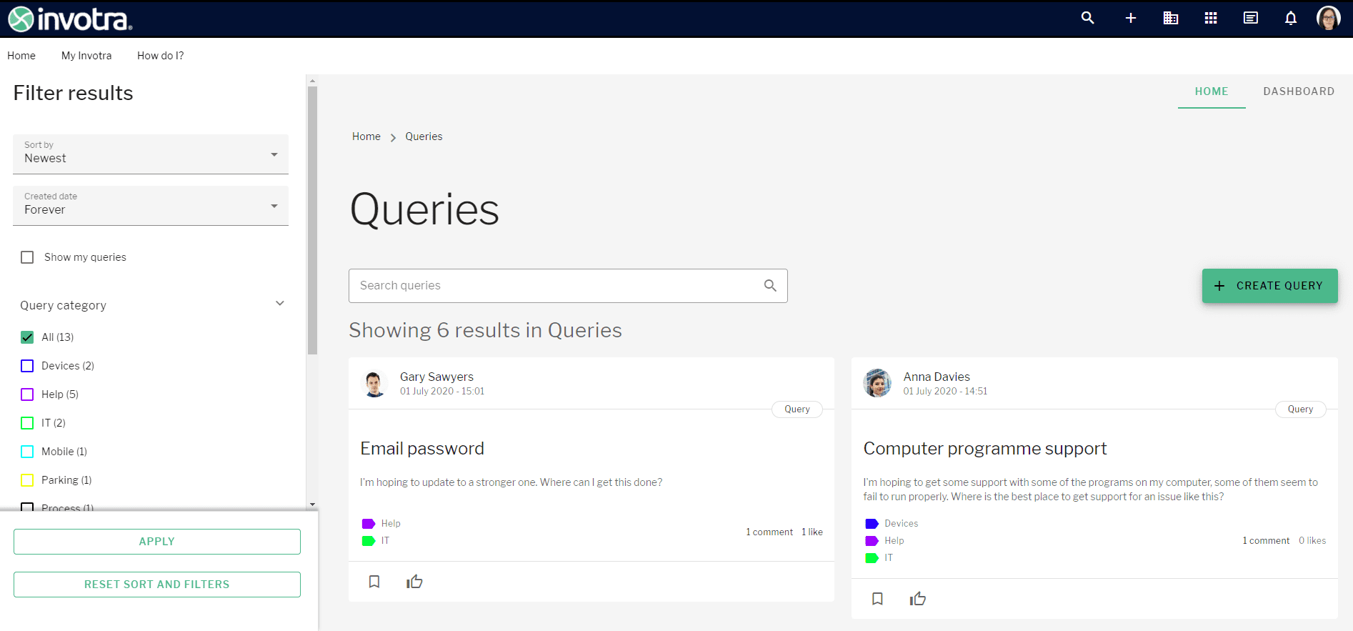 Queries landing page