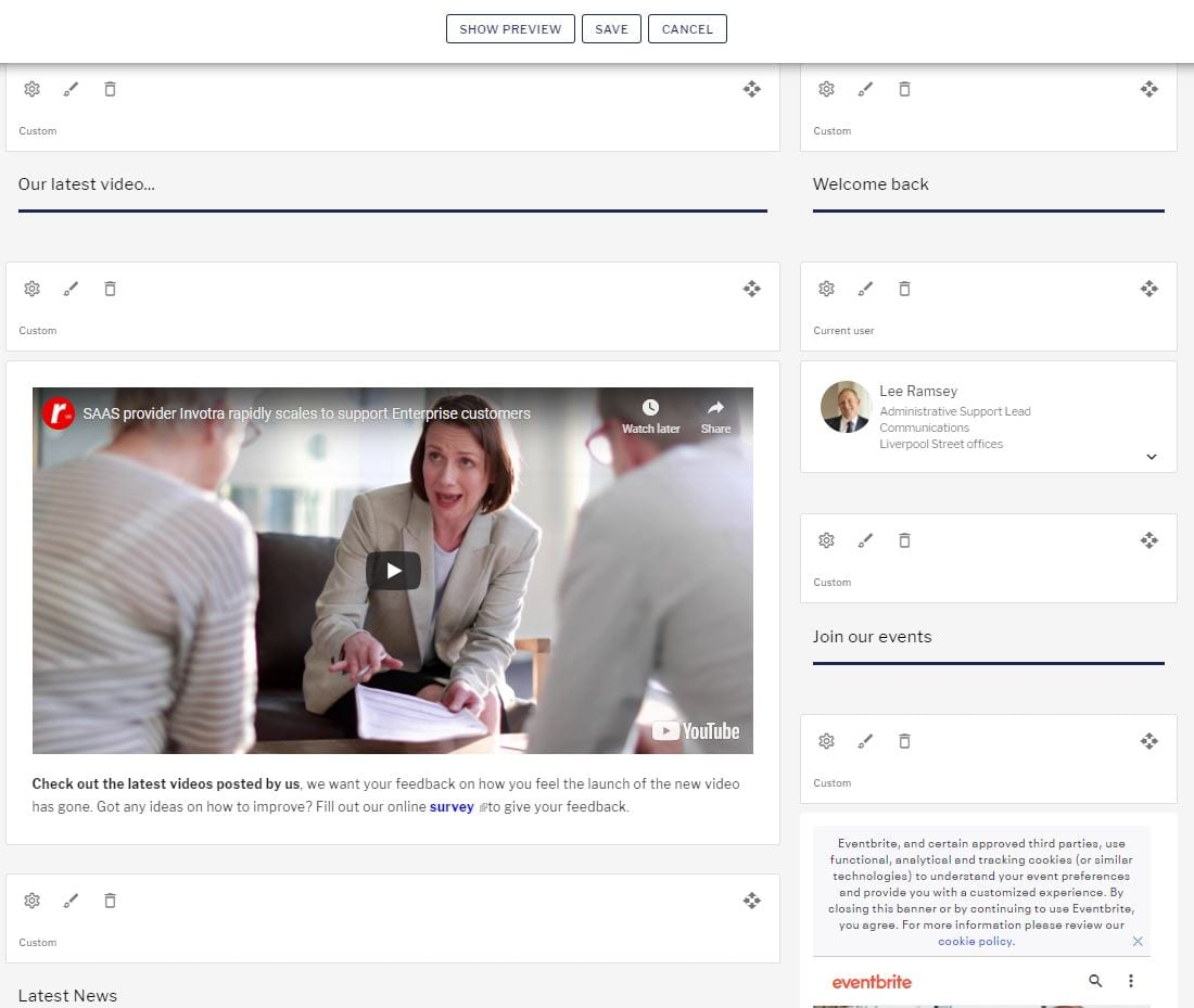 In place editor page with layout customisation for content management
