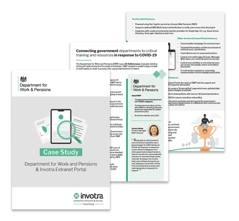 Department for Work and Pensions Case study pages