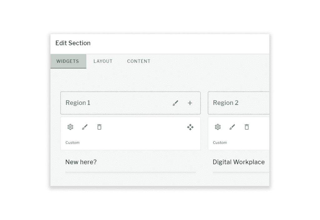 Edit section page with widget, layout and content tabs