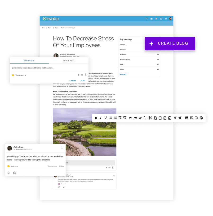 A blog page with a comment, group post editor, a create blog button and a wysiwyg